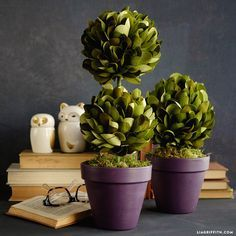 Create a gorgeous set of boxwood topiaries using foam balls & our extra fine double sided crepe paper, which includes four shades of green for visual depth