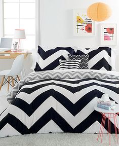 Chevron Black 4 Piece Twin Comforter Set - cute room design