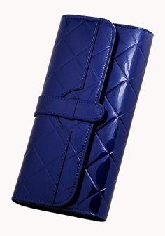 Riza Tri Folds Patent Leather Wallet Blue