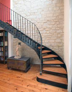 Escalier quart tournant / marche en bois / structure métallique / ouvert DT33 ESCALIERS DECORS