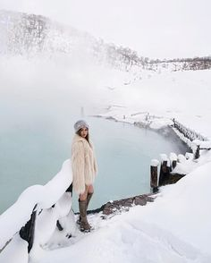 Beautiful natural hot spring in Niseko! Wearing @majorelle_collection faux fur coat and @privacypls nude dress from @revolve and @publicdesire boots. #VisitJapanAU #JapanRevealed #revolveme