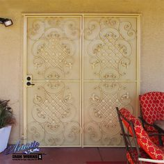Wrought Iron Patio Security Door with scrollwork - Model: FD0211
