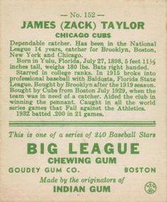 1933 Goudey #152 Zack Taylor Back