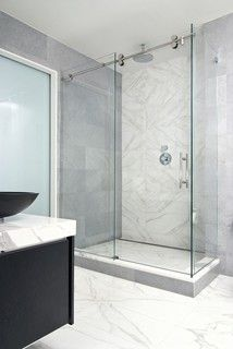 Love this clean and simple sliding shower door - this would work in the LL master as well as the girls' bath and LL powder