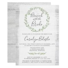 Rustic Wood Wreath Bridal Shower Brunch Invitation - wedding invitations diy cyo special idea personalize card