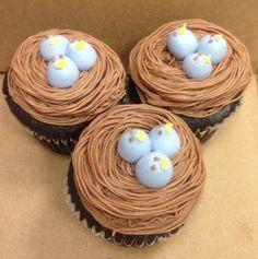 Baby bird cupcake decoration