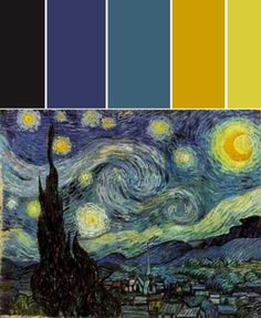 I'm going to be hanging my Van Gogh pieces in my master bedroom and need accent pieces to match the palette of his works so this is perfect. Vincent Van Gogh, Gogh The Starry Night, Starry Night Wedding, Van Gogh Pinturas, Le Vent Se Leve, Arte Van Gogh, Arte Sketchbook, Color Pallets, Color Theory