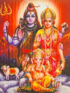 shiva , durga and ganesh , a Hindu holy family