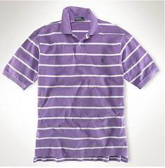 Ralph Lauren Men\u0027s Custom-Fit Striped Short Sleeve Polo Shirt Purple / White  http: