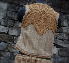 DISCOUNTED !!! Earthy Raw Silk Celtic Inspiration embroidery Vest Eco friendly Natural