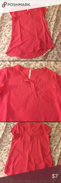 Adorable Oversized Shirt Very comfy oversized high low pink shirt size small. Only worn a few times. One rhinestone has fallen off the tag on the inside. Make offers ask questions! Bellatrix Tops