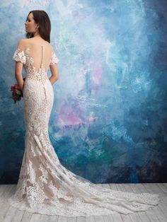 Allure Bridals Sizes with an S are 4 inches shorter in length. Allure Bridal Gown pictured with lining. This impossibly gorgeous off-shoulder gown feature Gown Pictures, Wedding Dress Pictures, Bridal Wedding Dresses, Dream Wedding Dresses, Bridesmaid Dresses, Bridal Gown Styles, Bridal Style, Sheer Wedding Dress, Lace Wedding