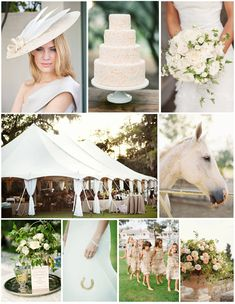whimsical Kentucky Derby wedding inspiration  i like the tent, flowers, cake and horse  but not a fan of the flowergirl dress and hat
