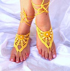 Hand Crochet, Sexy Lace Barefoot Sandals, Yellow Cotton, Summer, Beach, Pool, Yoga, Victorian, Gotic, Hippie, Gypsy. $18.00, via Etsy.