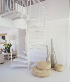 spiral-staircase painted white, decor/art & pouffs