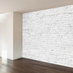 White Washed Brick Wall Mural Decal