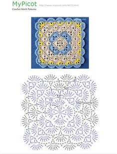 Crochet Me Lovely Crochet Motif Patterns, Granny Square Crochet Pattern, Crochet Diagram, Crochet Chart, Crochet Squares, Picot Crochet, Crochet Home, Crochet Projects, Decoration