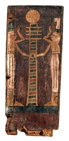 ☥ Ntr'tu Ast & Neb't Het performing the resurrection of Ausar, here symbolized by the djed column