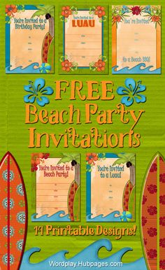 #FREE Printable Beach Party, Luau, BBQ and Birthday Invitations