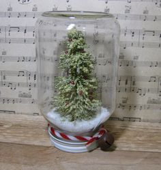 Christmas Tree Mason Jar Snow Globe Waterless by OverForty on Etsy Christmas Jars, Xmas, Christmas Tree, Diy Gifts, Handmade Gifts, Snow Globes, Mason Jars, Indoor, Seasons
