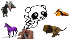 How to draw Skating Panda Coloring Pages Youtube videos for Kids - Learn...