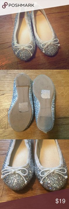 J Crew Crewcuts silver glitter ballet flats 8 Like new.  No marks or scuffs J. Crew Shoes Dress Shoes