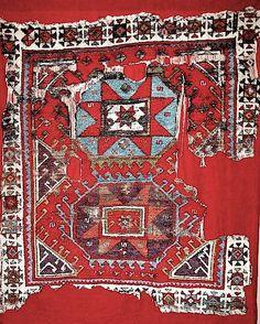 Powerful Turkish rug fragment (17th/18th C), from Konya