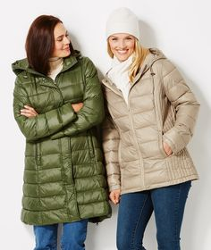 Our puffers are perfect - some even pack up for travel in their matching travel bag.  Plus Size Fashion from Woman Within.