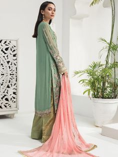 Organza Foil Printed Coral Churidar Set with Neck And Daman Embroidered