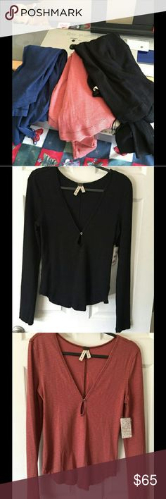 NWT 3 Free People Knit Tops L 3 colors Black L, Earth red L, Blue M Key hole front light weight knit top.  We the Free, thiss listing is for all three top Free People Tops Tees - Long Sleeve