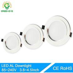 GreenEye Ultra Lumineux Rond LED Downlight 5 W 10 W 15 W En Aluminium Bombillas AC 110 V 220 V LED Vers Le Bas Plafonnier Encastré Spot lumière