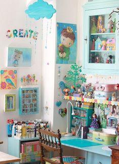 Creative Art Studio Organization Ideas For Workspace Desks 69 Craft Room Decor, Craft Room Storage, Craft Rooms, Home Decor, Storage Boxes, Wall Decor, Wall Art, Sewing Spaces, Sewing Rooms