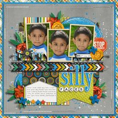 Silly Faces by sugirox using Mad House by Traci Reed and Shawna Clingerman ---> Ok, these pictures are HILARIOUS, I love how she used this kooky kit to scrap them!