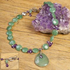 Adventurine and Amethyst cz sterling silver necklace. If you like my jewelry, please visit my site on Esty.  See source below.