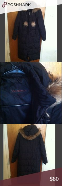 """SHIPS TODAY‼️ Long black winter coat with button detachable hoodie. Raccoon fur trim hoodie. Two side pockets. One inside pocket. Zip sides. Long coat. Black coat. Black jacket. About 47 1/2"""" from shoulder to bottom. Filler: 70% down and 30% waterfoul. Shell: 63% nylon 37% polyester. Feel free to bundle with my huge selection of designer jeans or dresses ❤️ Via Spiga Jackets & Coats Puffers"""
