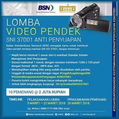 #InfoLomba #Lomba #VideoPendek #SNI #ISO37001 #BSN #AntiPenyuapan Lomba Video Pendek SNI ISO 37001 Anti Penyuapan 2018 Berhadiah Total 20 Juta Rupiah  DEADLINE: 22 Maret 2018  http://infosayembara.com/info-lomba.php?judul=lomba-video-pendek-sni-iso-37001-anti-penyuapan-2018-berhadiah-total-20-juta-rupiah