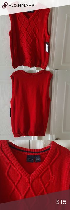NWT ! BOY'S IZOD SWEATER VEST Color: Red  FITS SIZES 14 - 16  ** PRICE IS FIRM!   ** I DON'T TRADE, SO PLEASE DON'T ASK! Izod Jackets & Coats Vests