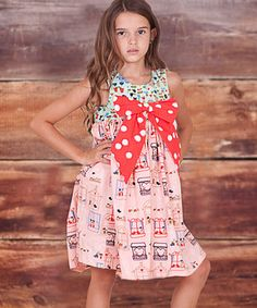 Look at this #zulilyfind! Peach Bow Belezza Dress - Infant, Toddler & Girls by Jelly the Pug #zulilyfinds