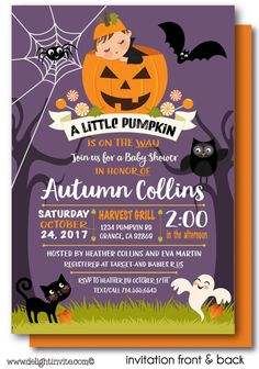 Halloween Owl Birthday Invitation Halloween Owl - Halloween baby shower invitations