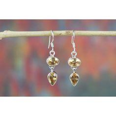 Buy Citrine Earrings In Sterling Silver via Polyvore featuring jewelry, earrings, citrine jewelry, citrine earrings, sterling silver earrings, earring jewelry and sterling silver jewellery