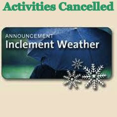 Due to the inclement weather, all activities scheduled for Monday, March 3rd, at Pender United Methodist Church arecancelled.