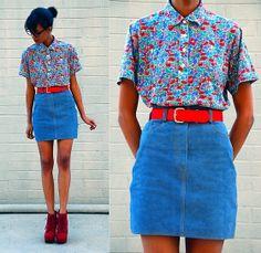 Vintage Liberty Floral Top, Vintage Blue Suede Mini, Platform Boots | Blue Suede (by Luna Nova) | LOOKBOOK.nu
