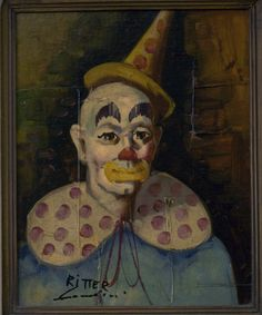 Julian Ritter Mid Century Clown Painting | eBay