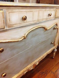 Chalk Paint® Decorative Paint by Annie . Pure White and a custom mix of Pure white and Louis Blue...clear and lots of dark wax by sonya