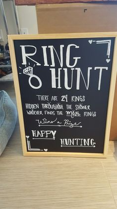 Ring hunt bridal shower game board Wedding Thank You Cards, Your Cards, Chalkboard Quotes, Art Quotes, Wedding Reception, Wedding Centerpieces, Ideas, Wedding Receiving Line, Thoughts