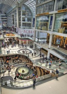 Toronto Eaton Centre. Fun place to shop especially at Christmas when it has beautiful lights and decorations.