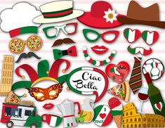 Printable Italy Party Photo Booth Props I love door TracyPartyDesign