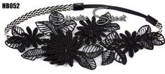 Celeb Black Flower Lace Flapper Hair Band Headband Fancy Fascinator Headpiece
