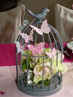 Cage à oiseaux, fleurs et envolé de papillons, Stampin up