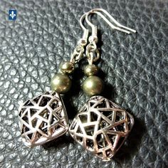 ♥ FIXED SHIP TO USA  Natural Pyrite & Plated Silver 3D Rhombus Pendant Earrings